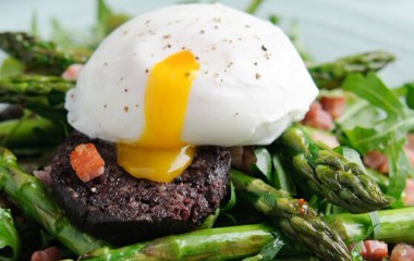 Baked Asparagus, Black Pudding and Pancetta Recipe